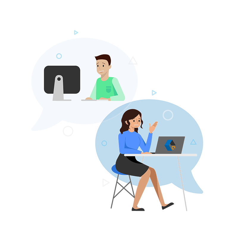 User having a conversation with a representative of ClickShip