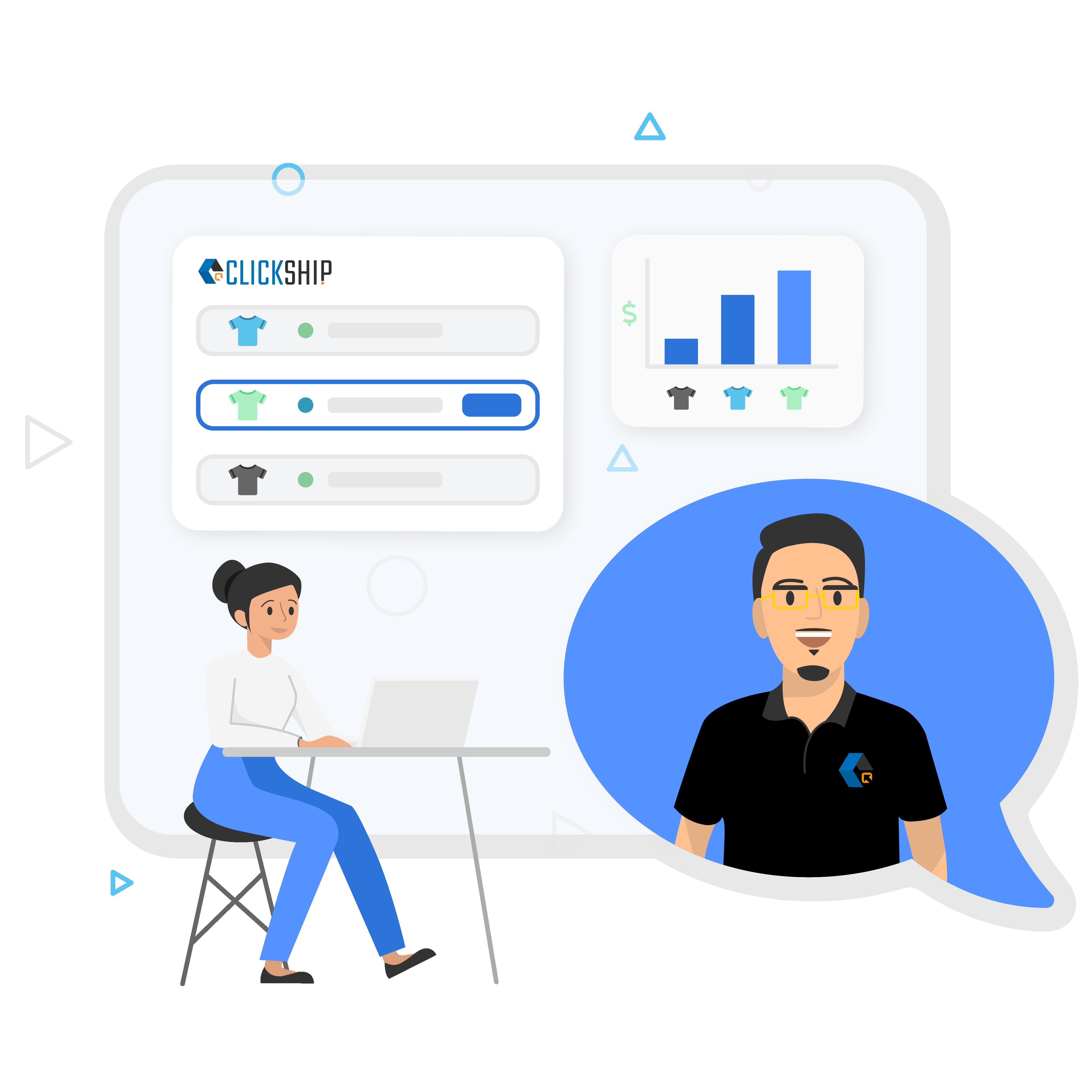User contacting ClickShip customer service