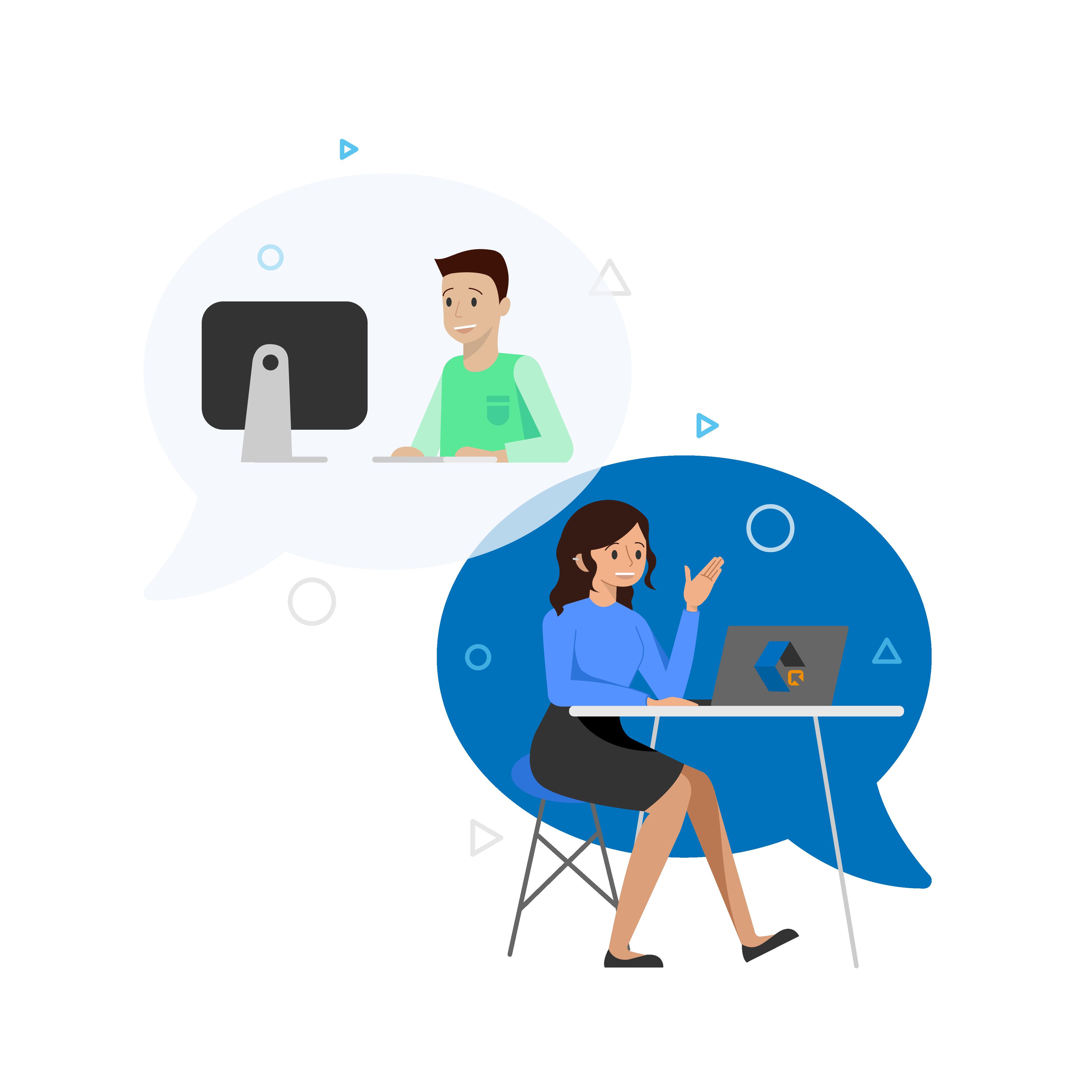 User having a conversation with a representative of ClickShip