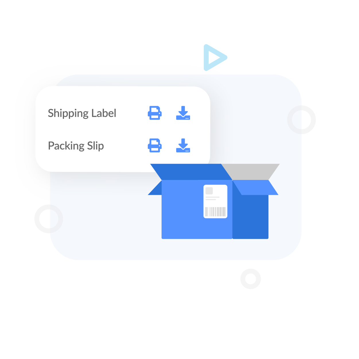 Printing Labels screen above a shipping box